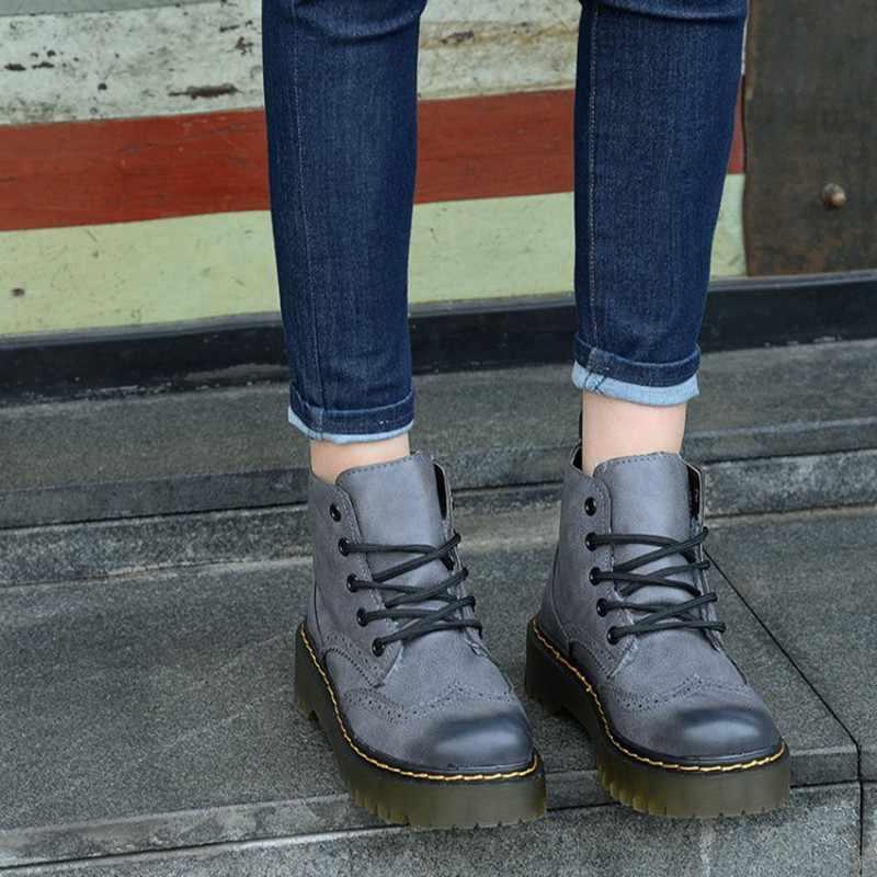 COOTELILI Brogue Kış Ayakkabı Kadın Hakiki Inek Deri Kadife Peluş yarım çizmeler Kadınlar Için Kauçuk Kar Botları Platformu 35-40