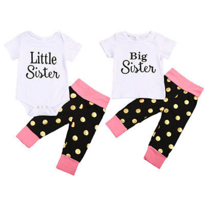 Family Matching Sister Summer Clothes Set Newborn Baby Girl Little Big Sister Romper T-shirt Tops + Pant Outfit Clothes Set 0-6Y autumn 2pcs baby girl clothes set print little animal unicorn horse rainbow long sleeve t shirt tops trousers jeans pant outfit