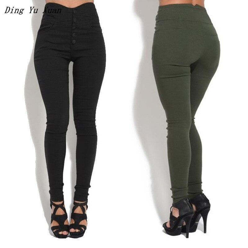 2019 New Womens Slim Bodycon   Leggings   Big Size 4XL 5XL Women High Waisted Buttons   Legging   Black Brown Green Pencil Pant Trouser