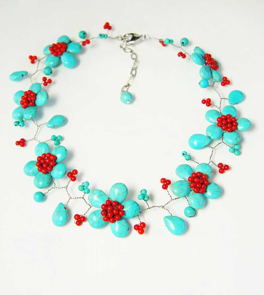 2017 Promotion Rushed Trendy Women Stone Plant Collares Maxi Necklace Collier Beadwork Turquoises With Necklace,beaded Jewelry