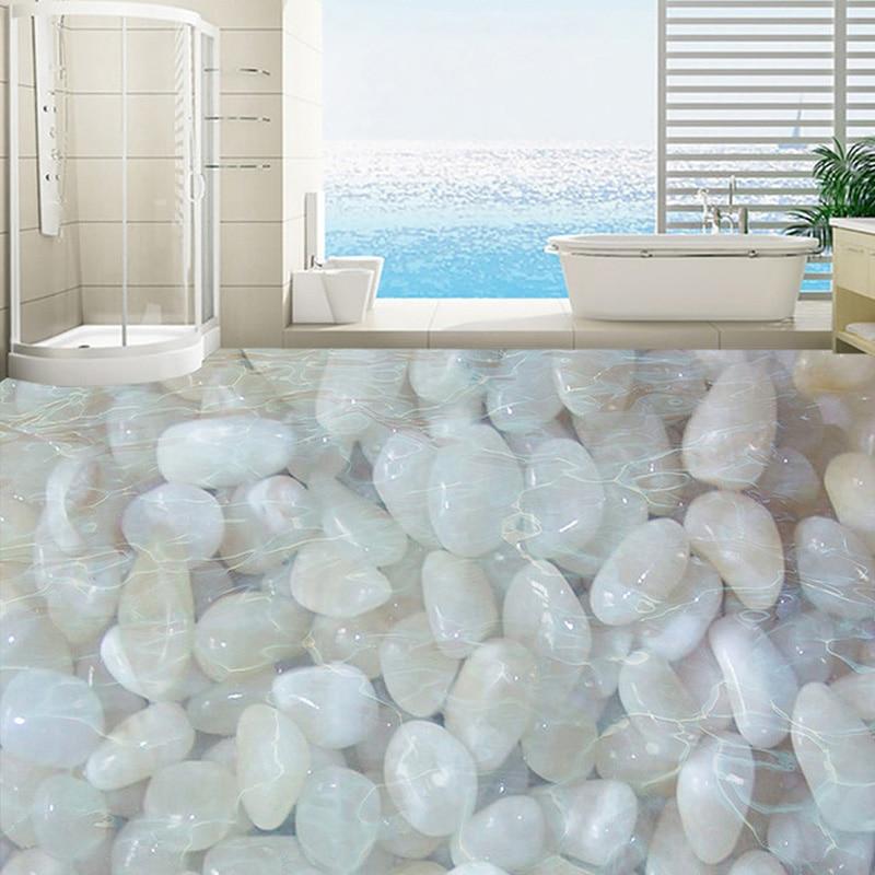 Custom 3D Floor Wallpaper White Cobblestone Living Room Bathroom Floor Mural Waterproof Self-adhesive Vinyl Photo Wallpaper 3D