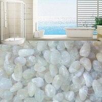 Custom 3D Floor Wallpaper White Cobblestone Living Room Bathroom Floor Mural Waterproof Self Adhesive Vinyl Photo