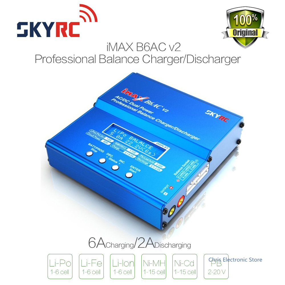 Wholesale SKYRC iMAX B6AC V2 6A Lipo Battery Balance Charger LCD Display Discharger For RC Model Battery Charging  Re-peak Mode 1s 2s 3s 4s 5s 6s 7s 8s lipo battery balance connector for rc model battery esc