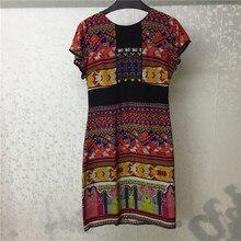 Summer Silk Dress Women 2018 Short Sleeve Casual Printing O-Neck Bohemian vestidos