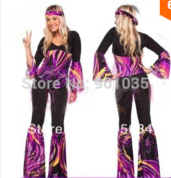 60-cı illərin xanımları Retro Hippi Go Girl Disco Costume Hens Party Fancy Dress S-2XL
