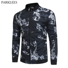 42d90d9c2eab9 Floral Print Black Bomber Jacket Men 2019 Brand New Spring Casual Baseball  Jacket Mens Plus Size