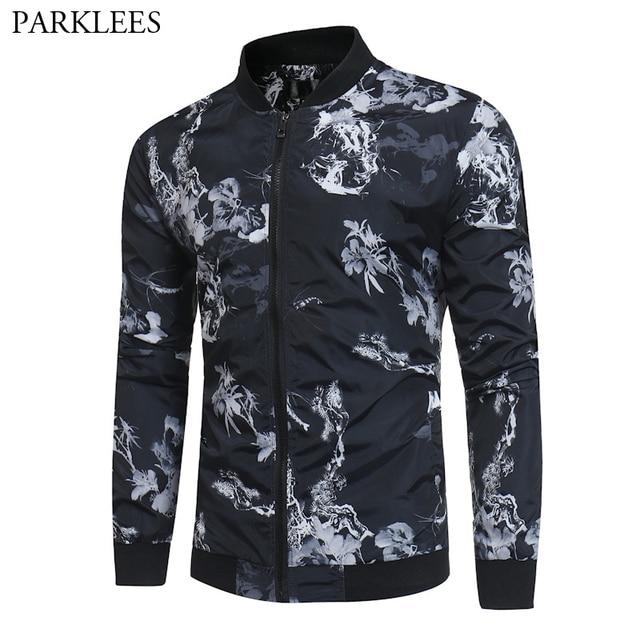 bdc29434435d Floral Print Black Bomber Jacket Men 2019 Brand New Spring Casual Baseball  Jacket Mens Plus Size Jackets and Coats Veste Homme