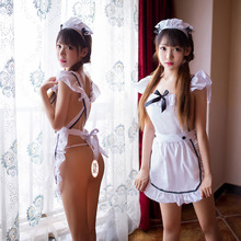 Adult erotic lingerie feminine transparent maid uniform temptation cute cute maid apron suit sexy uniform role playing sex game new sexy lingerie lace bow cute cute maid sexy perspective mesh uniform temptation role playing suit clothes bracelet headdress