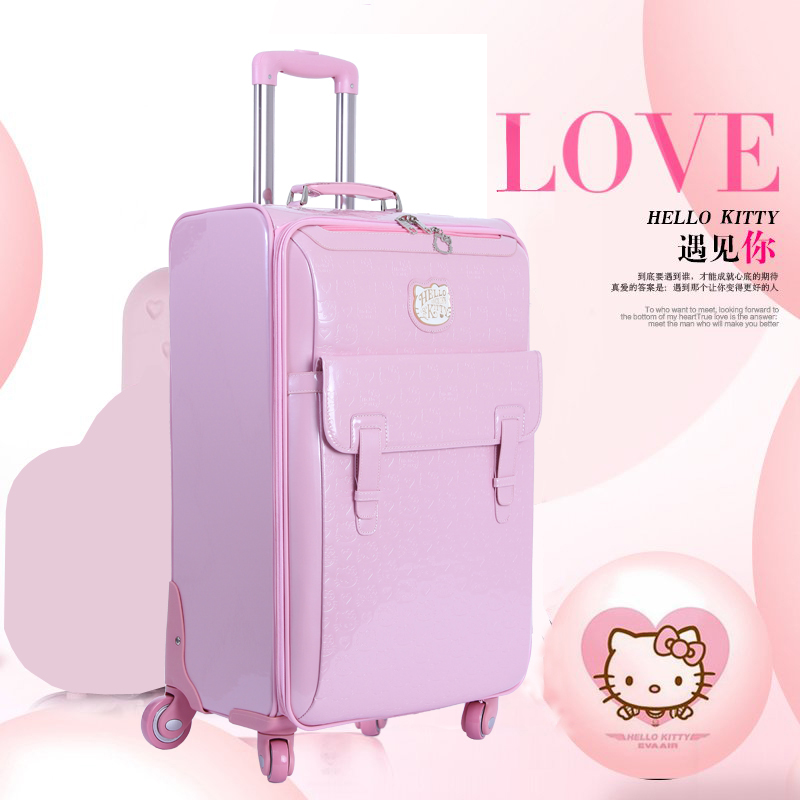 Suitcase Mala Trolley Rolling-Luggage Hello-Kitty Cute Cosmetic-Bag Travel-Bag 16inch