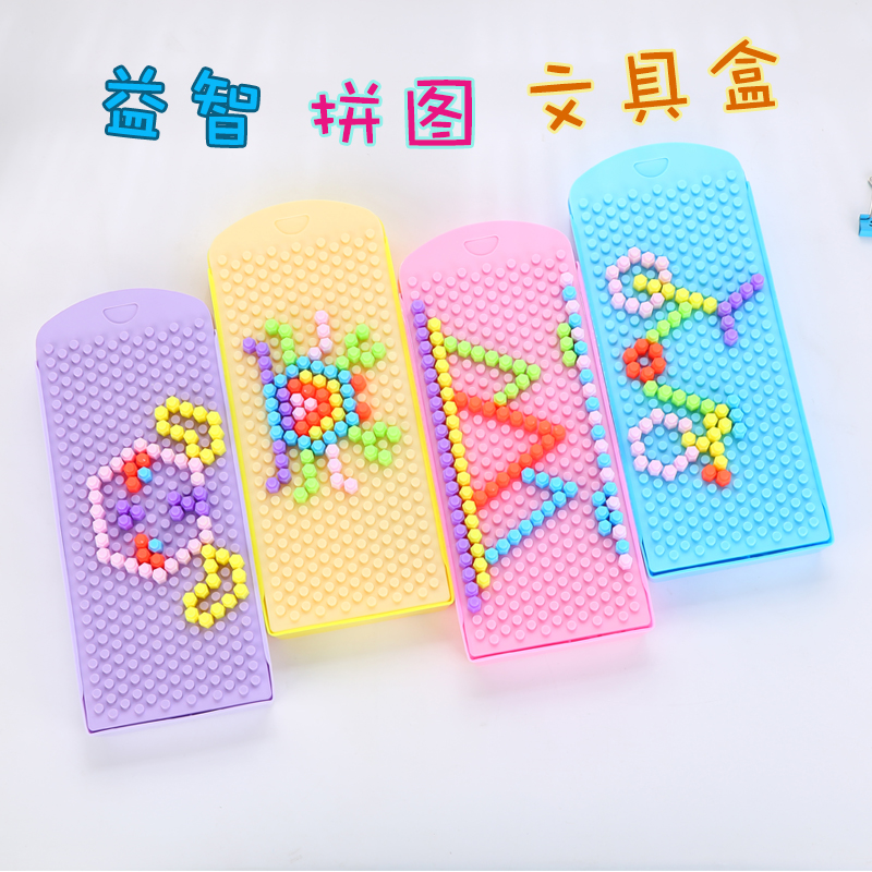 1PC/lot Creative Korean Building Blocks Puzzle Pencil Case Kawaii Stationery DIY Jigsaw Plastic Pencil Box Organizer Storage Box solar military transport plane baron p320 jigsaw puzzle building blocks environmental diy toy