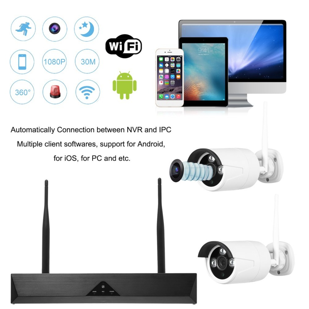 JV-KW104L 4 Channel Wireless Wifi NVR P2P Camera Kit HD Outdoor IP Security System 1.0MP IR Night Vision Surveillance Camera