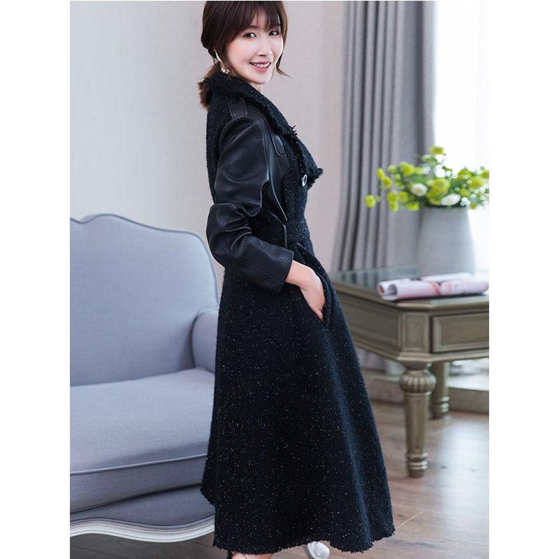 Manteaux Veste Black Mujer Automne Mouton Coréenne Véritable Manteau Femmes Hiver De En Peau Cuir Zt930 Longue Vêtements Chaqueta 2018 Réel Zqxf54x