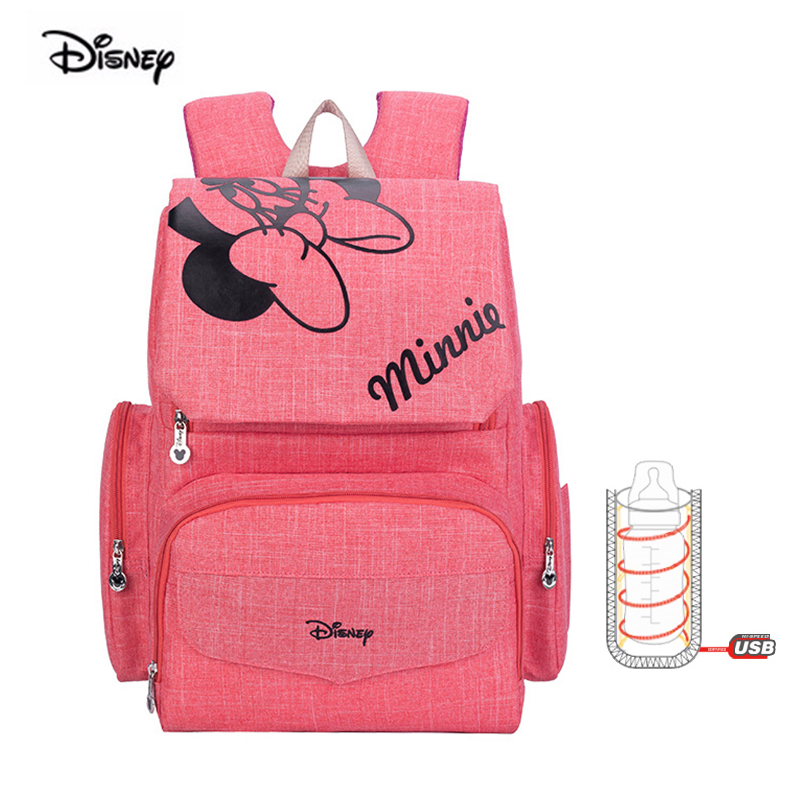 Disney USB Heating Insulation Baby Mommy Bag Multifunctional Minnie Diaper Maternity Nappy Backpack For Travel Pregnancy