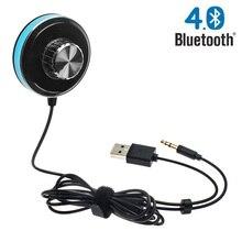 Bluetooth 4.0 Mains Libres Voiture Kit avec 3.5mm Aux Jack, soutien IOS Siri, double USB Chargeur et Base Magnétique, mise à jour En Aluminium Anneau