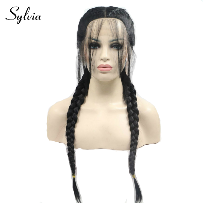 Sylvia 1b# black braided ponytail synthetic lace front wigs with baby hair natural braids heat resistant fiber hair for woman