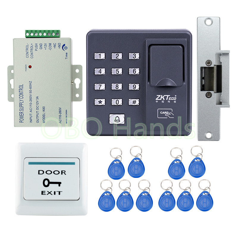 Full kit RFID Fingerprint machine+NC fail safe strike for access control system+rfid key fobs +exit button+power supply