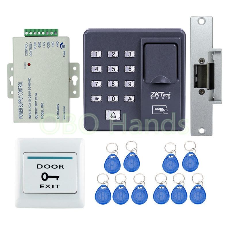 フルキットrfid指紋マシン+ ncフェイルセーフストライク用アクセス制御システム+ rfidキーフォブ+終了ボタン+電源  グループ上の セキュリティ & プロテクション からの 指紋認識装置 の中 1