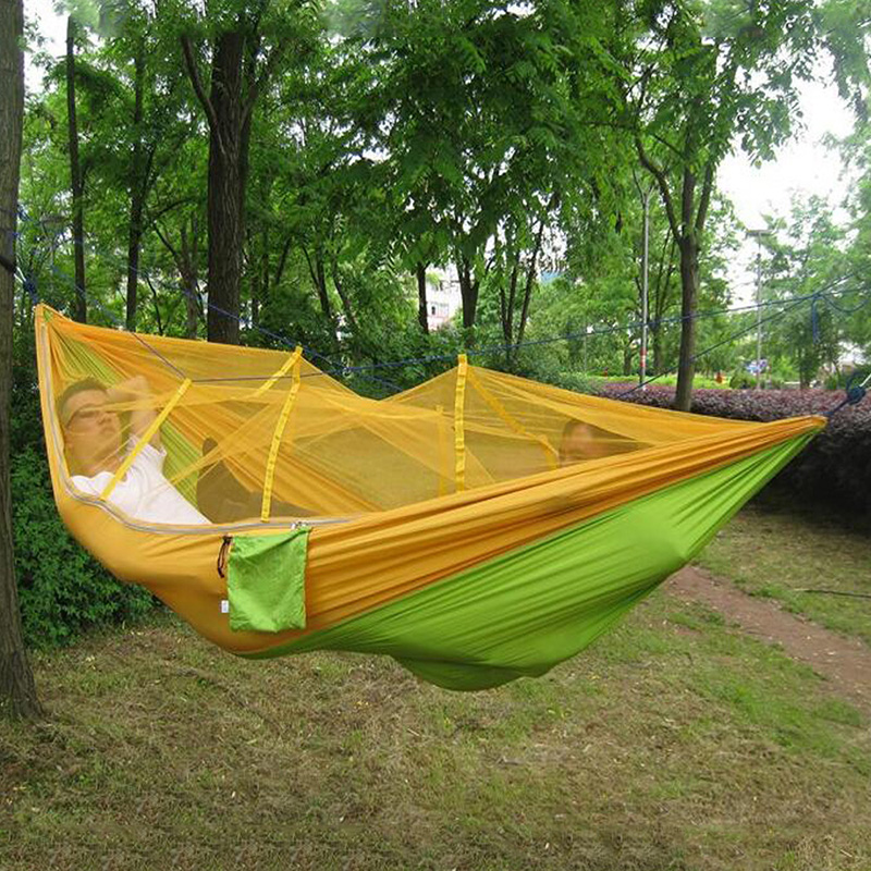 Outdoor Survival Mosquito Netted Hammock Hanging 2 Person Secure Hamak For Sleeping Jungle Swing Hamac Travel Kits Stitching outdoor double hammock portable parachute cloth 2 person hamaca hamak rede garden hanging chair sleeping travel swing hamac
