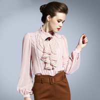 New Fashion Elegant Stand Collar Lantern Sleeve Ruffles Flower Lace Chiffon Silk Shirts Blouses For Women Spring Autumn 2017