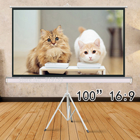 100 Portable Indoor Outdoor Projector Screen HD 100Inch 16:9 Projection Pull Up Foldable Stand Tripod Mobile Presentation