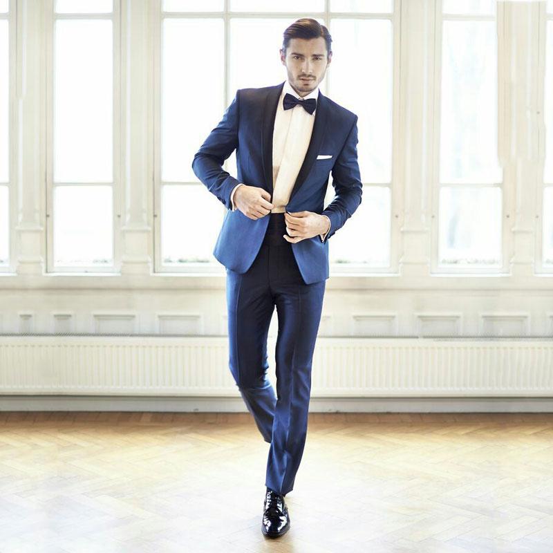Italian Blue Men Suits Groom Wedding Suits Man Blazers Tuxedo Shawl Lapel 2Pieces Coat Pants Jacket Slim Fit Terno Masculino