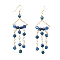 LiiJi Unique Natural stone Heating Kyanite,Pearl 925 Sterling Silver Gold Color Vintage Style Long Drop Tassel Earring