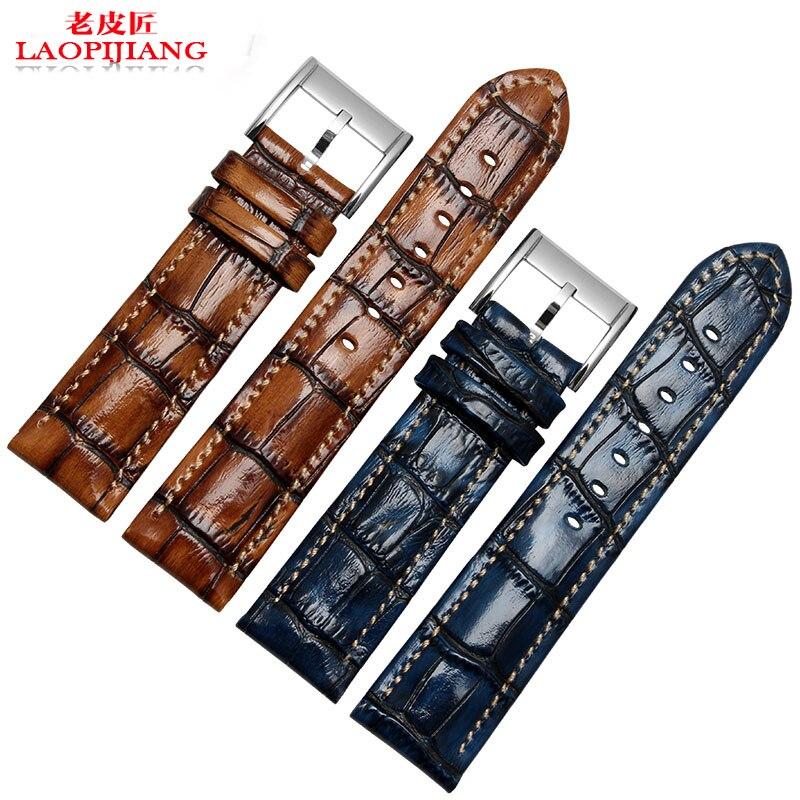 Laopijiang lumineux croco bracelet en cuir adaptateur série montre 20 22 mm pilotes