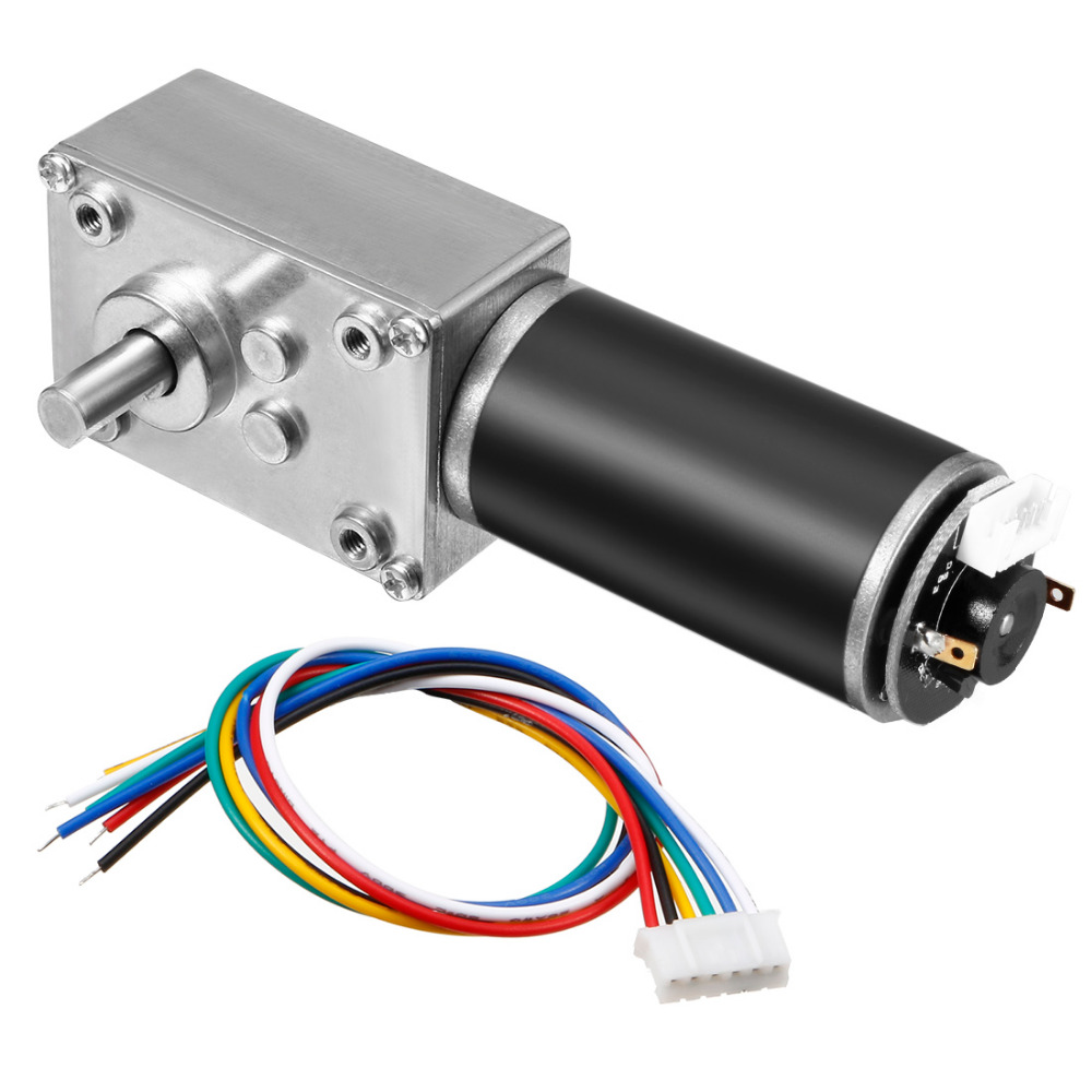 New Arrival DC 24V 74RPM 25Kg.cm Self-Locking Worm Gear Motor With Encoder And Cable High Torque Speed Reduction Motor 1pcs dc 12 24v shaft high torque right worm gear motor speed reduction