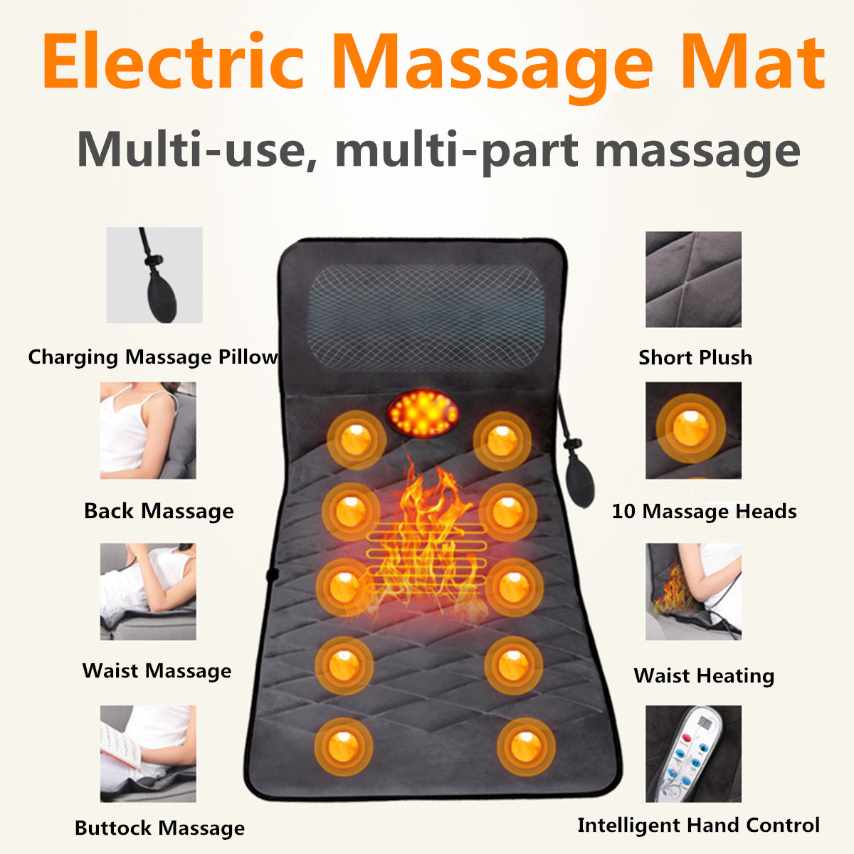 Full Body Massage Mat Electric Vibrator Massager Mattress Far-Infrared Heating Therapy Neck Back Massage Relaxation Bed