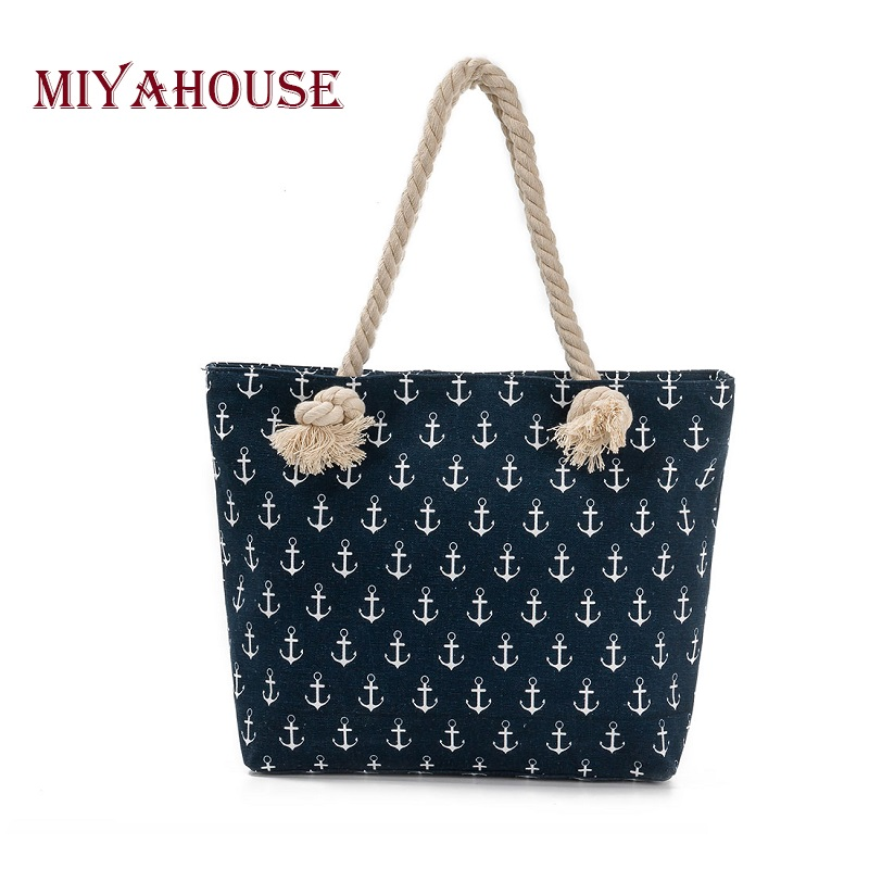 Miyahouse Large Capacity Summer Beach Bag Lady Anchor Printed Shoulder Bag Female Jean Denim Tote Handbag Women Shopping Bag forudesigns floral printed shoulder bags women large capacity female shopping bag summer ladies beach handbag blosas feminina