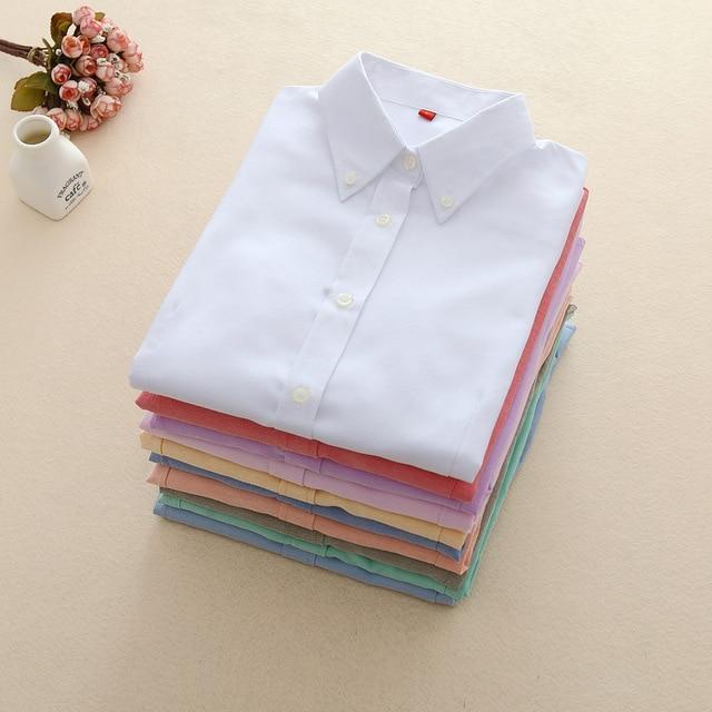 Женские блузы 2017 с длинным рукавом Оксфорд женские топы офис рубашка с длинными рукавами Женщины Студент blusas Camisas Mujer