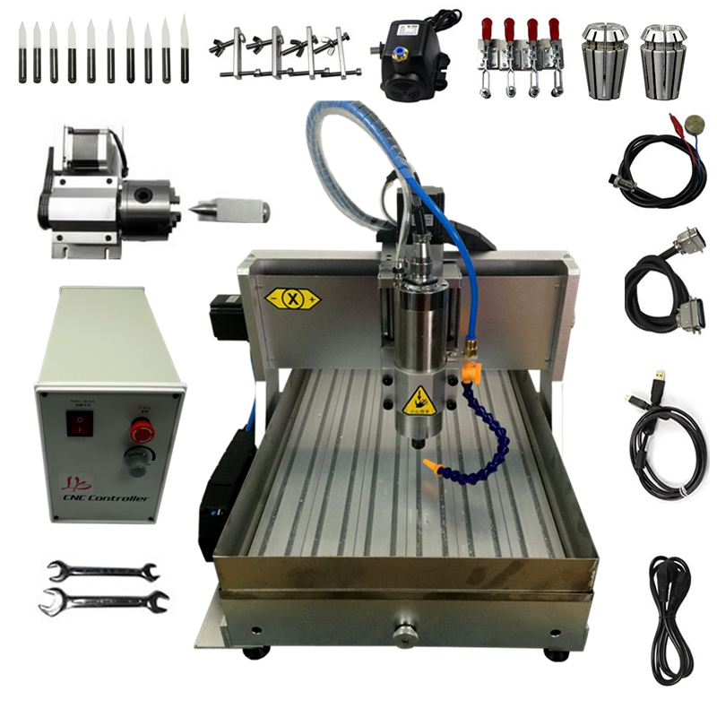 4 Axis 2 2KW USB CNC Metal Milling Machine Water Tank CNC Router 6040
