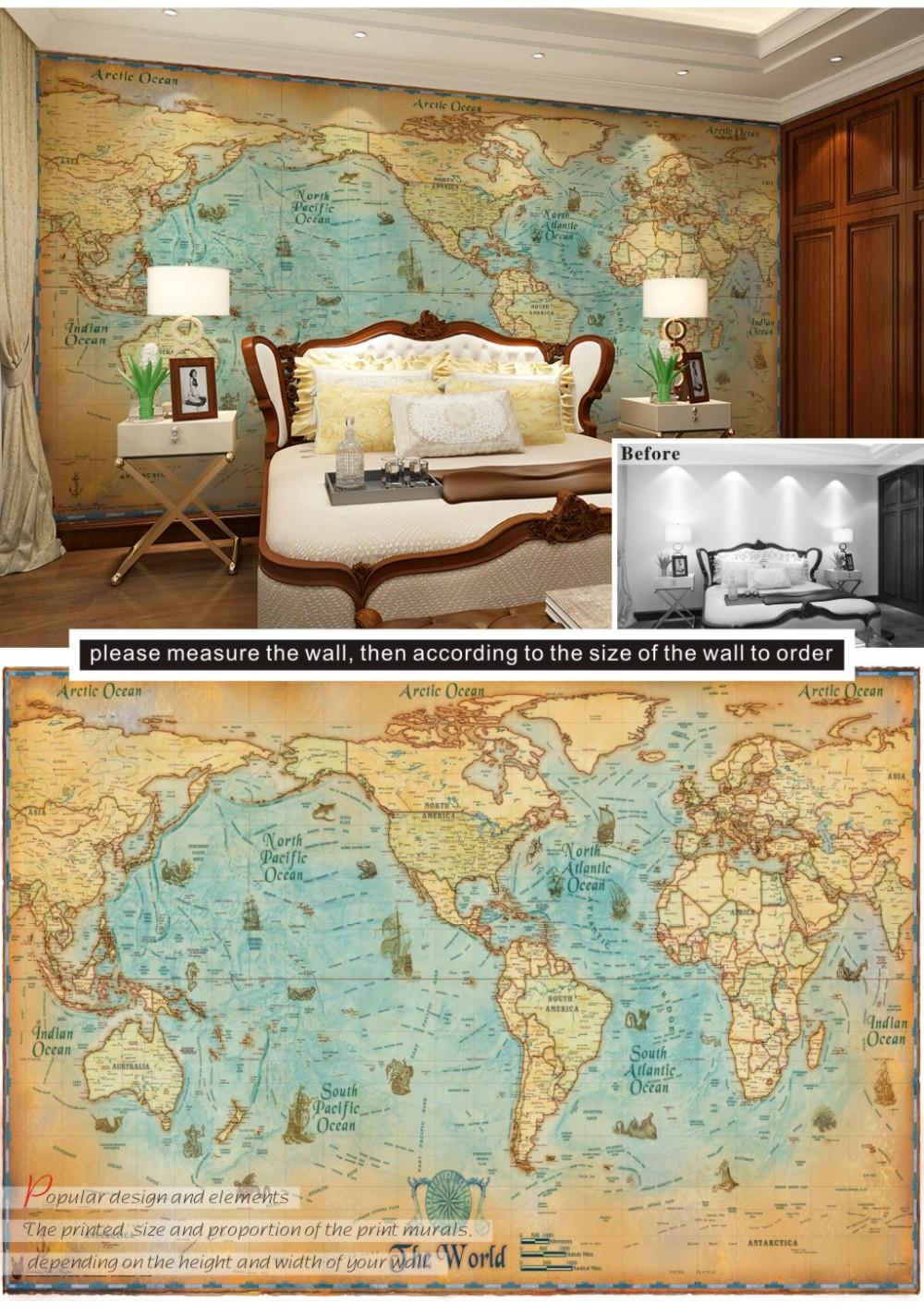 Murals Retro World Map Charts Lobby Bar Living Room Sofa Bedroom TV L Wallpaper Mura Wallpapers Desktop Wallpapers Desktop Background From