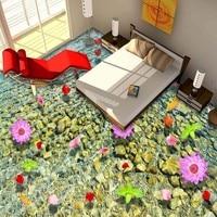 Free Shipping floating water flower 3D painting flooring wallpaper bedroom aisle lobby wear floor mural