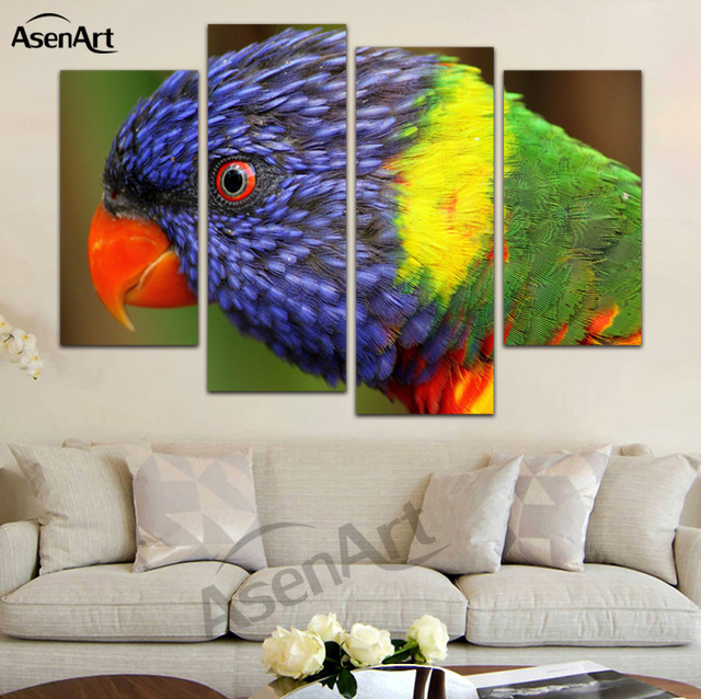 4 Pieces Modern Wall Art Canvas Prints Couple Parrot Paintings Bird Painting for Bedroom Wall Decoration & 4 Pieces Modern Wall Art Canvas Prints Couple Parrot Paintings Bird ...
