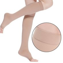 18-21mmHg Unisex Knee High Compression Stockings Men Women Elastic Leg Support Open Toe S-XL