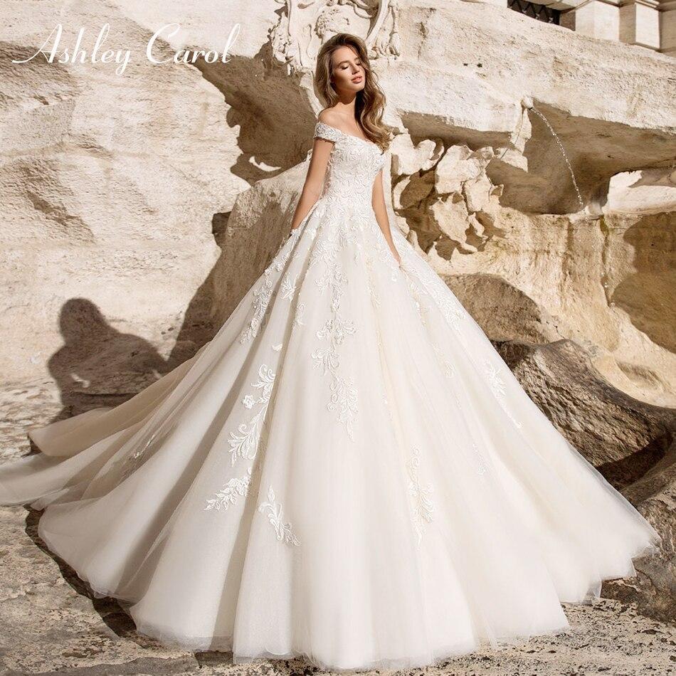 Ashley Carol Sexy chérie Cap manches robe de mariée princesse 2019 à lacets mode dos nu une ligne robe de mariée robes de mariée