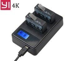 2 шт. Батарея + ЖК-дисплей USB двойной Зарядное устройство для Yi Lite Xiaomi Yi 4k Батареи akku Xiaomi Yi 2 4k аксессуары для спортивной экшн-камеры черный