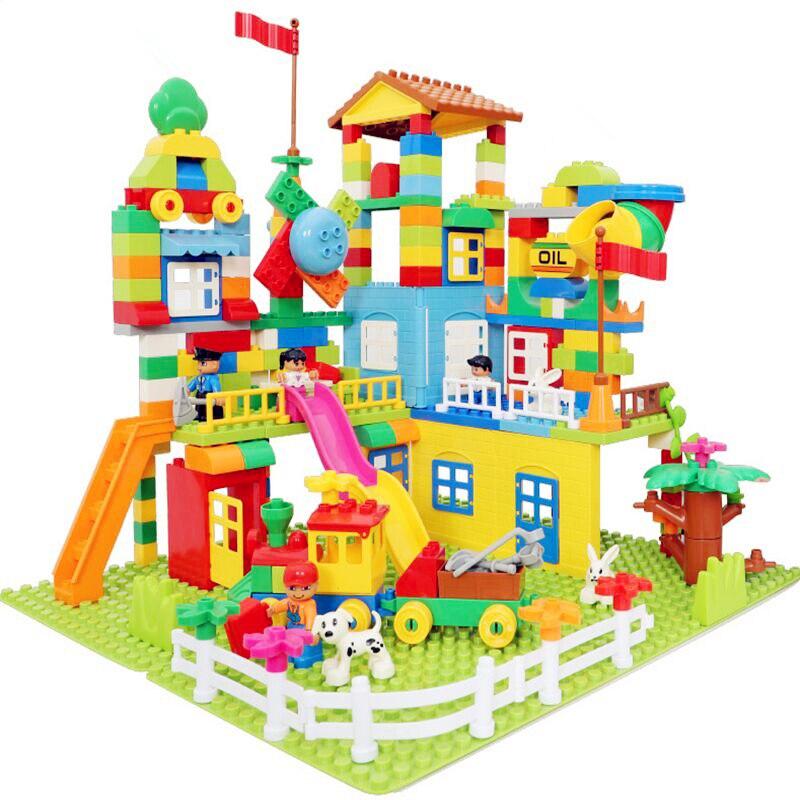 113-238pcs Marble Run Building Blocks Set ABS Amusement Park Maze Educational Toys For Children Compatible City Bricks
