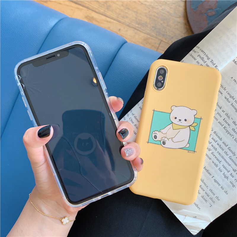 Jelly bear Korean phone case for iphone8 8plus cute cartoon brown bear case for iphone 6 8 7 7plus 6 6s plus x xr xs max fundas in Fitted Cases from Cellphones Telecommunications