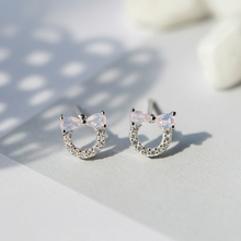 цена на New Fashion Silver Zircon Butterfly Bow Knot Stud Earrings 925 Hollow Circular Full Zircon Earrings Women Ear Jewelry