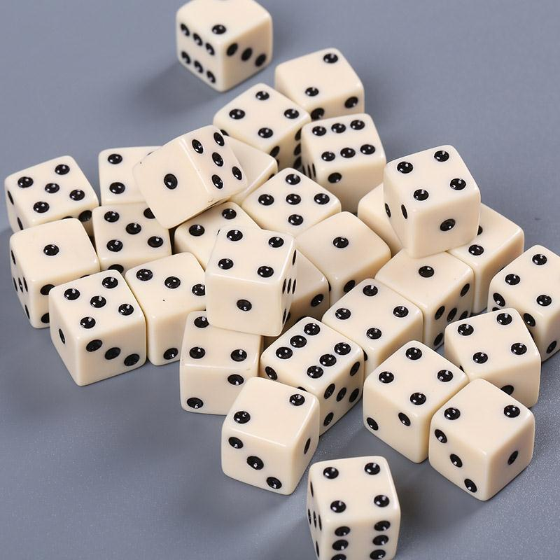 High Quality 10 Pcs Dice Playing Dices Set Six Sided Decider Die RPG Standard Gambling Games White Pips Cube Funny Toy Tool