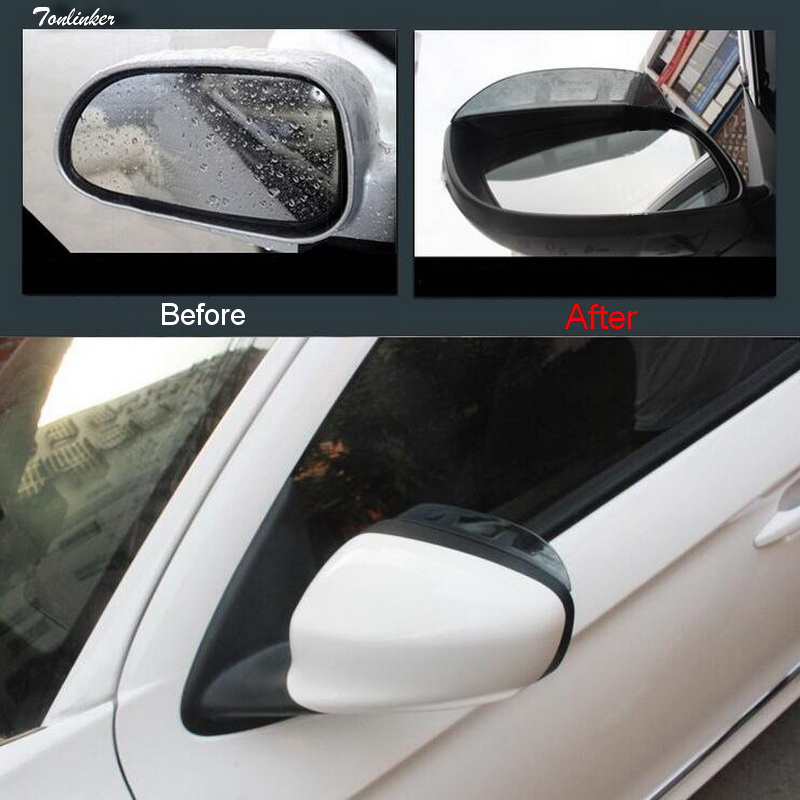 Tonlinker Rearview <font><b>mirror</b></font> Rain eyebrow Cover Stickers for <font><b>Peugeot</b></font> 301/<font><b>408</b></font>/308/2008 Car styling 2 PCS ABS plastic Cover stickers image