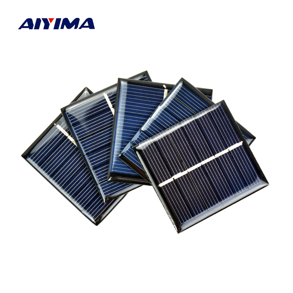 Aiyima 10Pcs DIY Solar Panels Photovoltaic Solar Cells Power Charger Solars Epoxy Plate 60 x 55 3V 120MA