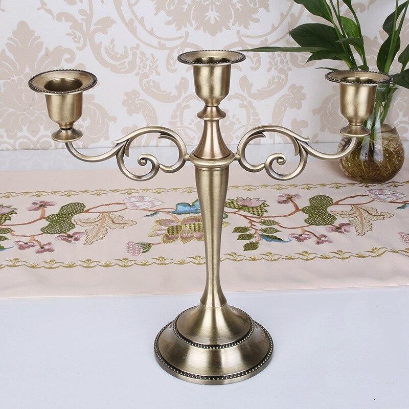 Metal Altın/Bronz Kaplama Mumluk Retro 3 Arms Mumluk Düğün Pervane Mum Işığında Akşam Yemeği Otel Ev Dekorasyon