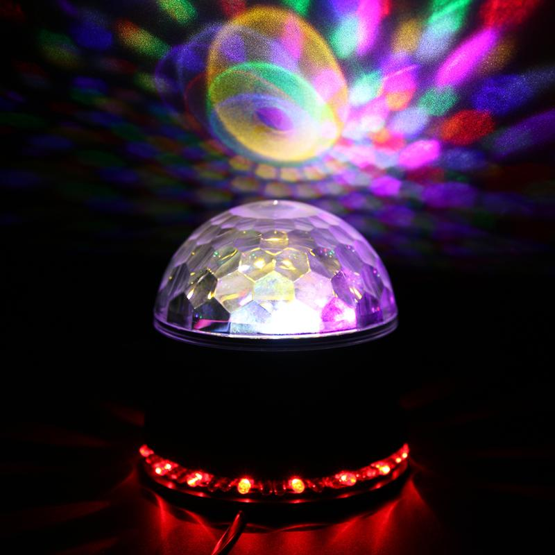 2 in 1 Six Color LED Stage Lamps Crystal Magic Ball Sound Control Light Laser Stage Effect Light Party Disco Club DJ Light