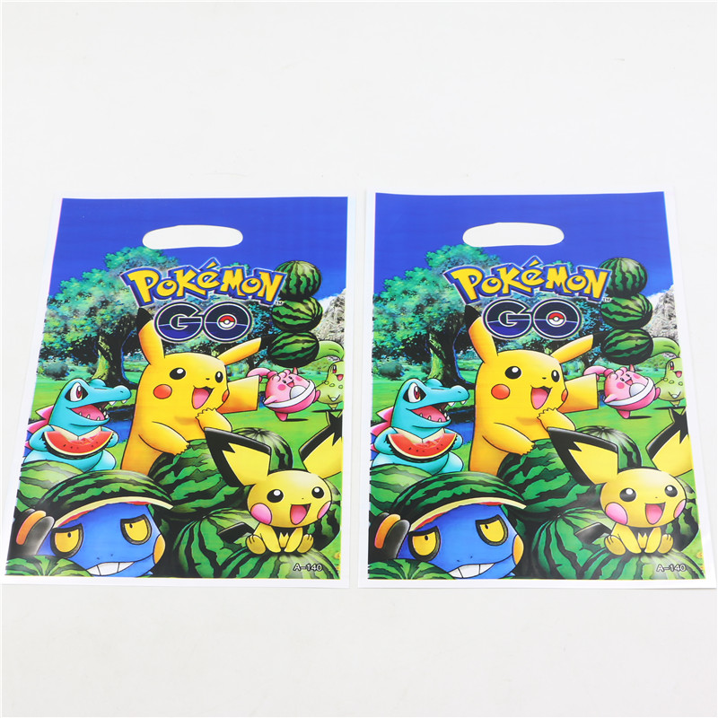10pcs 1pack Loot Bag For Kids Birthday Festival Party Decoration Pokemon Theme Supplies CandyBag