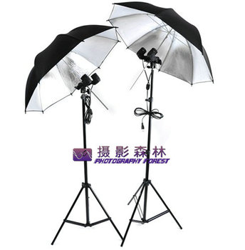 Photography Continuous new Umbrella Lighting Studio Kit - Soft  Silver Twin-lamp head reflective photographic equipment CD50