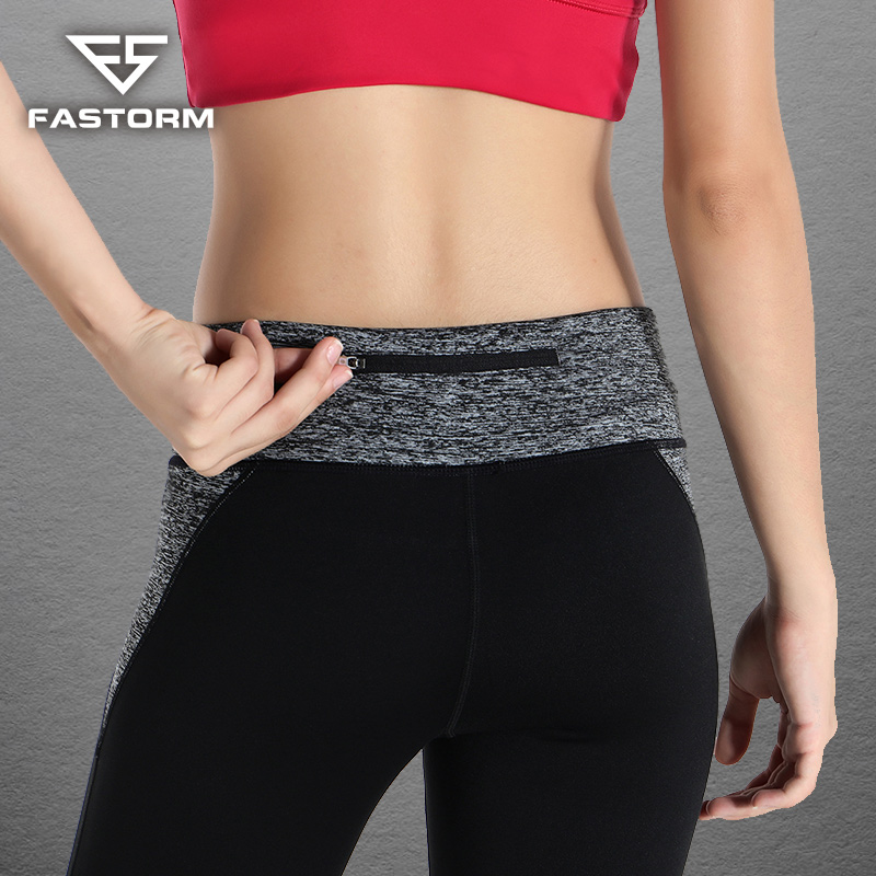 FASTORM Pant Yoga Women Elastic Waist Gym Sports Leggings With Pocket Breathable Fitness Running Pants new winter yoga suit five piece female ms breathable coat of cultivate one s morality pants sports suits running fitness