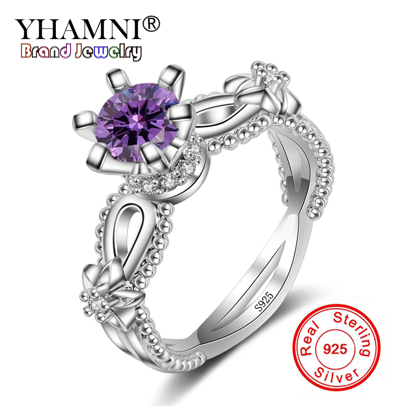 YHAMNI 100% Natural Material Silver Rings Jewelry 1ct Purple CZ Zircon Ring 925 Sterling Silver Wedding Rings for Women JZR025